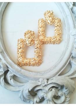 Луксозни висящи обици с кристали в златно - Gold Glamm