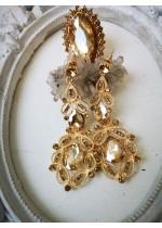 Елегантни обици с кристали в златно- Gold Ornament