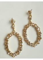 Елегантни висящи обици с кристали Сваровски златна сянка модел Gold Shine
