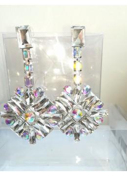 Кристални булчински обици колекция Flowers модел In Style AB ефект