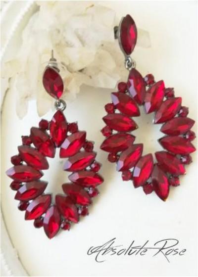 Висящи обици с червени кристали - Malta Red