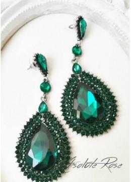 Красиви обици с кристали в изумрудено зелено - Monaco Green