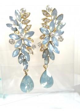Кристални обици в опушено светло синьо - Moon Flowers