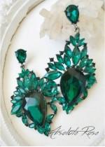 Масивни обици с кристали в тъмно зелено - модел Paris