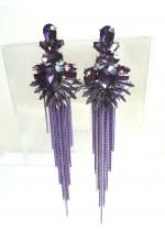 Дамски обици за абитуриентски бал и официални събития в лилаво модел Purple Beauty