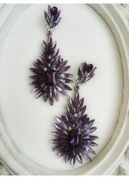 Луксозни обици за абитуриентски бал и други официални събития в лилаво модел Purple Blossom