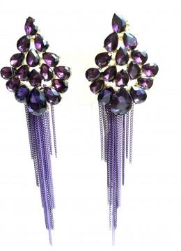 Кристални висящи обици за абитуриентски бал и други официални събития в лилаво модел Purple Flowers
