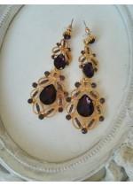 Кристални обици - лилави кристали в златист обков Purple Gold