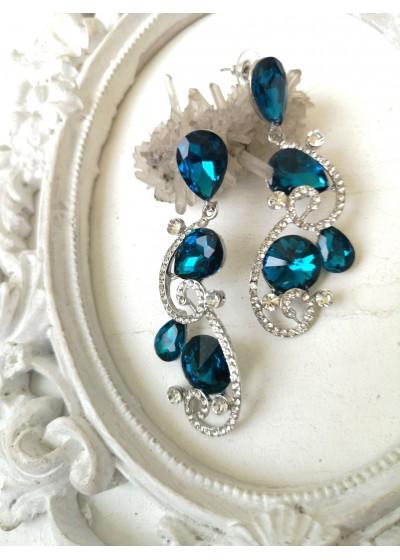 Ефектни обици с кристали в тюркоазено- Turquoise Beauty