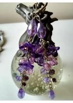 Handmade обици с кристали Сваровски в лилаво серия Tender Verbena by Rosie