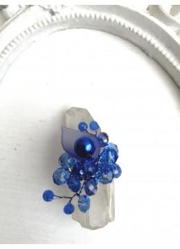 Красив дизайнерски пръстен с кристали Сваровски в синьо модел A little piece of Heaven by Rosie