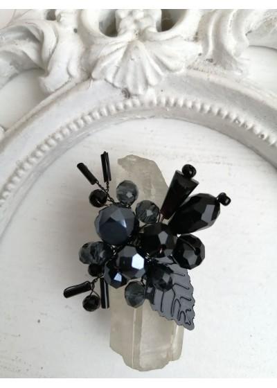 Кристален черен пръстен за бал и официални случаи модел Absolute Black Rose by Rosie