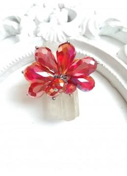 Официален пръстен с красиви кристали в цвят огнено червено Coral Queen