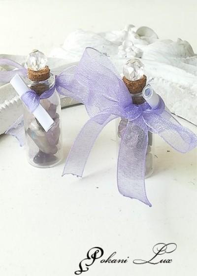 Абитуриентско подаръче за гости в светло лилаво шишенце с аметист и кристал над 20 бр