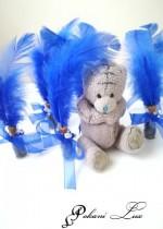 Сувенири за гости на бал шишенце в тъмно синьо с перо над 20 бр