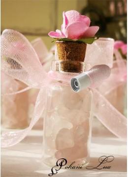 Подаръчета за бал Розов Кварц с панделка и цвете над 20 бр