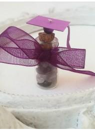 Подаръчета за гости за абитуриентски бал аметист, кристал и шапка цвят лилаво