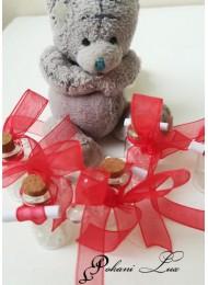 Подаръци за гости за сватба шишенце с полускъпоценни камъни планински кристал с панделка над 20 броя