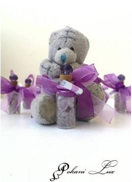 Подаръчета за гости за свето кръщение в лилаво шишенце Дуо с кристал над 20 бр