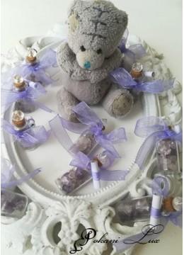Подаръци за гости за свето кръщение шишенце в светло лилаво с кристал над 20 бр