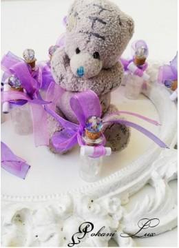 Сувенири за гости на кръщене шишенце Дуо в лилаво с кристал над 20 бр