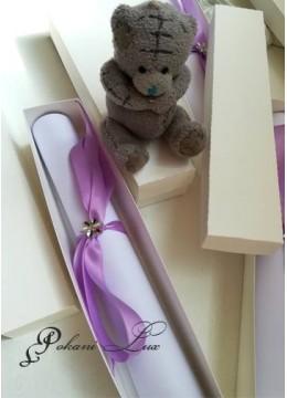 Дизайнерска сватбена покана в лилаво с кутийка модел Pure Violet