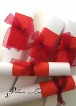 Дизайнерска сватбена покана в червено с кутийка модел Carmen