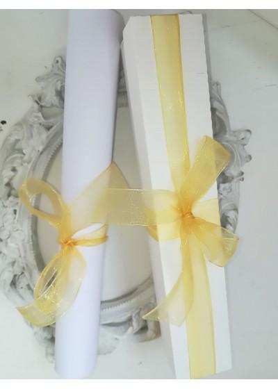 Дизайнерска покана за кръщене с кутийка светло злато модел Ribbon