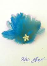 Дизайнерски ръчно изработени брошки - украса за коса с пера и кристали цвят тъмен тюркоаз Dark Turquoise Bird