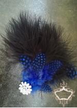 Сватбена украса за коса с пера и кристали в кралско синьо и черно Royal Blue Bird