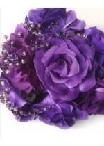 Булчински букет с луксозни рози и кристали в тъмно лилаво Amethyst Rose by Rosie Concept