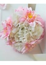 Нежен сватбен Букет с бели и розови далии и божури и сатенена дръжка модел от серията Japanese Blossom by Rosie Concept