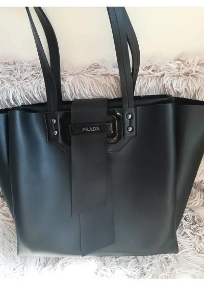 Модерна дамска кожена чанта през рамо тип торба - Prada