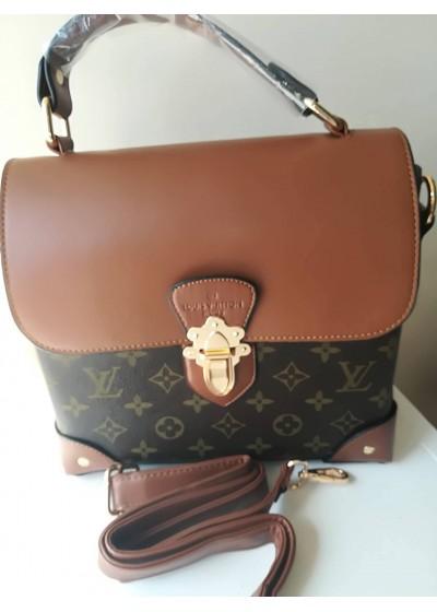 Дамска чанта тип куфарче - Louis Vuitton в два оттенъка на кафяво