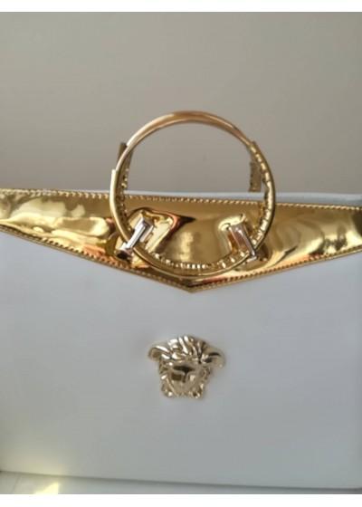 Луксозна официална булчинска чанта модел Версаче бяло и златно