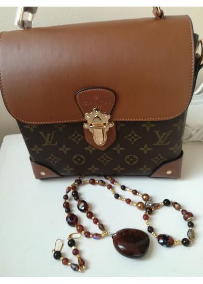 Комплект за подарък - чанта Louis Vuitton и дизайнерски комплект бижута от полускъпоценни камъни и кристали Сваровски