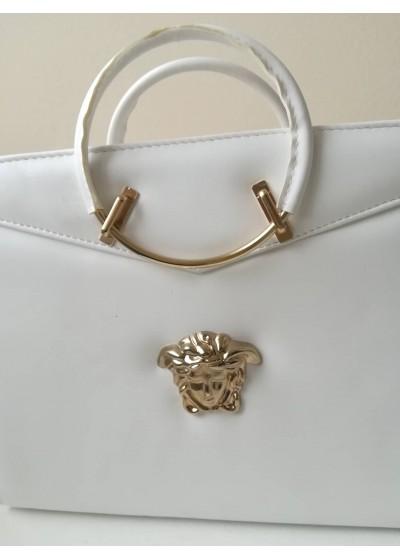 Луксозна официална чанта за булка модел Версаче бяло и златно