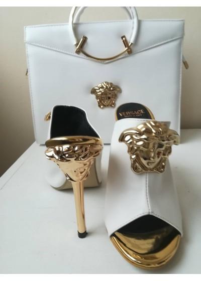 Комплект за булка чанта и чехли в бяло и златно модел Versace Gorgon
