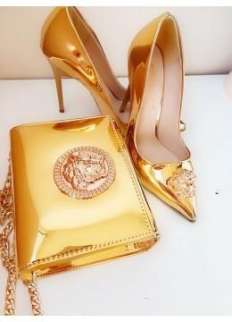 Стилен комплект чанта за булка и абитуриентка и обувки с висок ток модел Gorgon Gold small