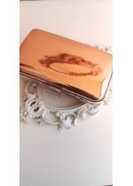 Официална чанта цвят розово злато с кристали