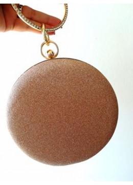 Ефектна официална дамска чанта брокат цвят праскова със златен обков