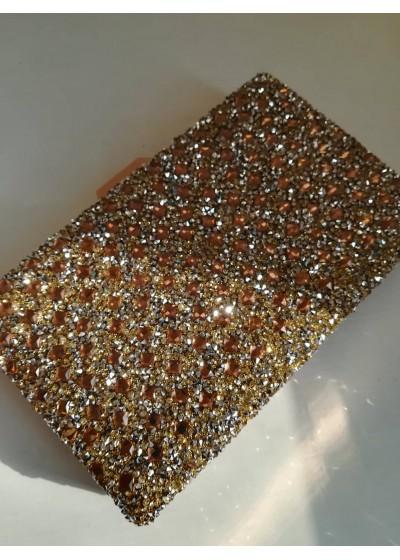 Кристална златна официална чанта за сватба и бал модел Crystal Gold Rose
