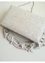 Красива дамска чанта бял брокат за сватба и бал