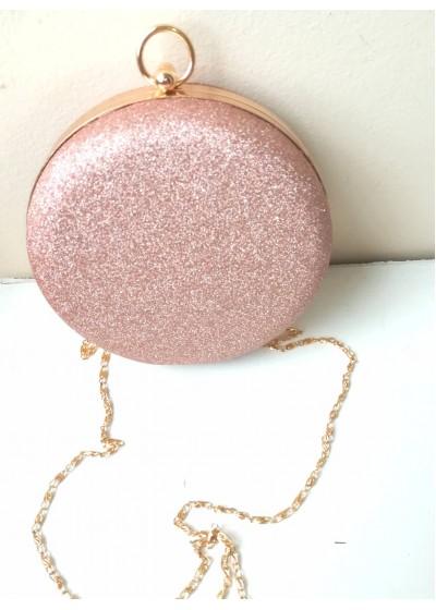 Ефектна официална чанта брокат в цвят пепел от роза със златен обков