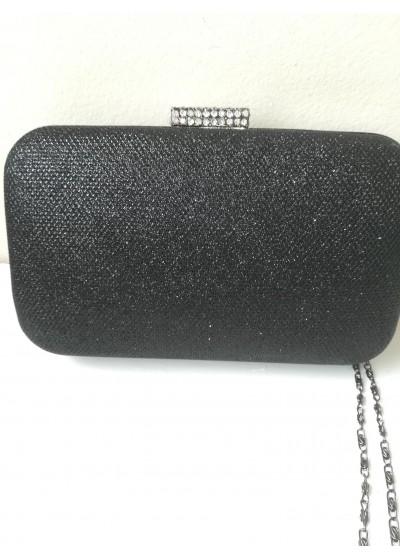 Луксозна чантичка за бал от черен брокат с кристали