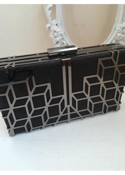 Официална дамска чанта черен брокат с ефектен обков тъмна стомана