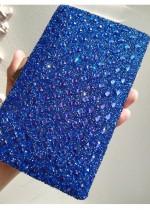 Кристална дамска чантичка в тъмно синьо Blue Rose