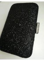 Абитуриентска официална чанта от черен брокат модел Black Spark