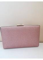 Луксозна дамска чанта розов брокат
