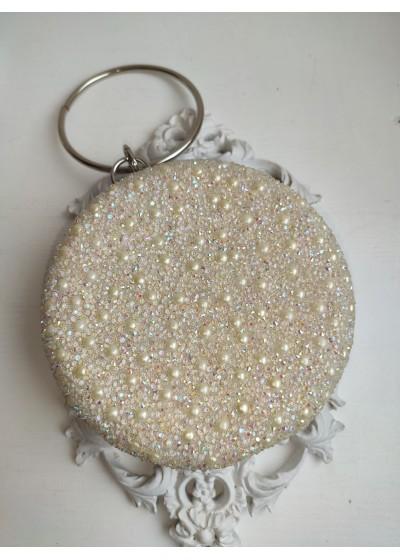 Кристална булчинска чанта с перли и мъниста Прециоза в цвят Крем (слонова кост)